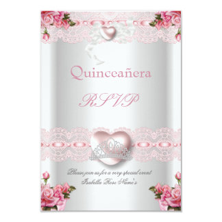 RSVP Quinceanera 15th Pink Silver Heart Rose 9 Cm X 13 Cm Invitation Card