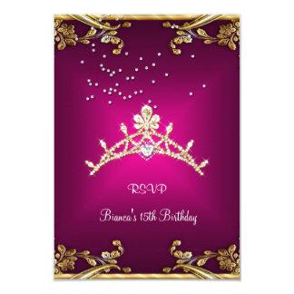 RSVP Quinceanera Birthday Pink Tiara Gold Diamond 9 Cm X 13 Cm Invitation Card