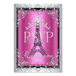RSVP Quinceanera Pink Silver Tiara Eiffel Tower 9 Cm X 13 Cm Invitation Card