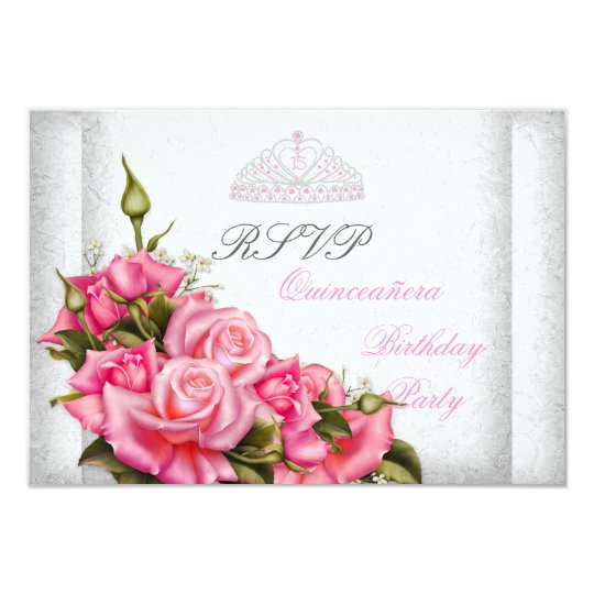 RSVP Quinceanera Pretty Pink Roses White 15th Card