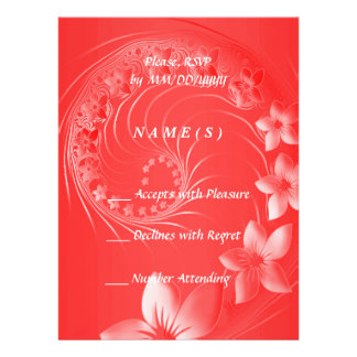RSVP - Red Abstract Flowers Personalized Invitation