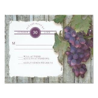 RSVP Red Wine Vintage Wood n Vineyard Wedding 11 Cm X 14 Cm Invitation Card