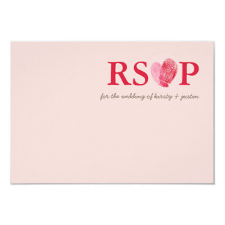 RSVP REPLY CARD cute fingerprint heart couple pink 9 Cm X 13 Cm Invitation Card