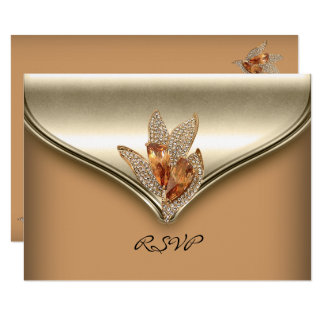 RSVP Reply Elegant Caramel Beige Gold Birthday Card