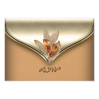 RSVP Reply Elegant Caramel Beige Gold Birthday Card