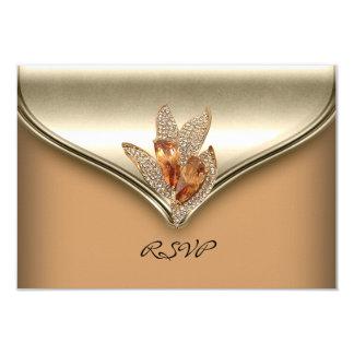 RSVP Reply Elegant Caramel Beige Gold Birthday 3.5x5 Paper Invitation Card