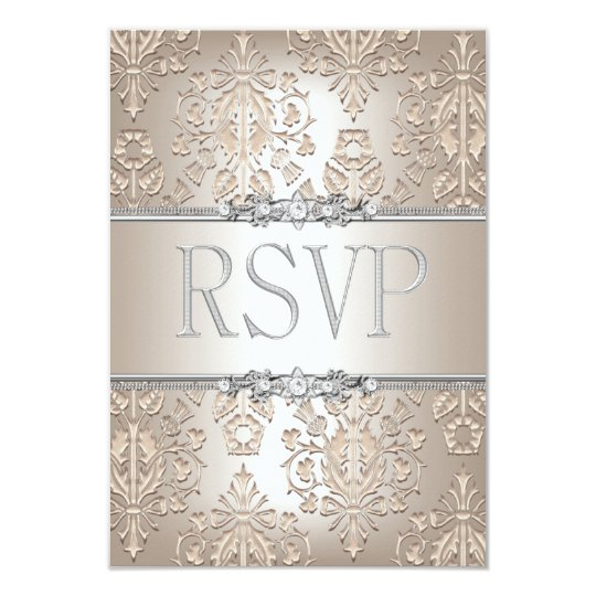 RSVP Reply Elegant Damask Cream Silver Floral Card