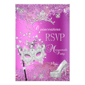 RSVP Reply Masquerade Quinceanera 15th Party Pink Custom Invites