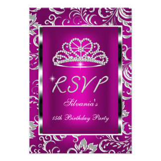 RSVP Reply Quinceanera Pink Plum Damask Silver Personalized Invite