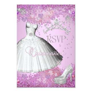 """RSVP Reply Quinceanera Pink Tiara Dress Shoe 3.5"""" X 5"""" Invitation Card"""