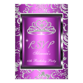 RSVP Reply Quinceanera Purple Pink Damask Silver Invites