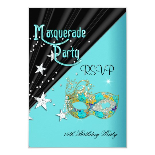 RSVP Reply Response Birthday Party Teal Gold Mask Card