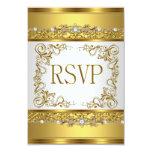 RSVP Reply Response Metallic Gold White Diamond 9 Cm X 13 Cm Invitation Card