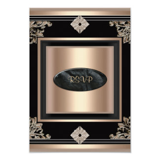 RSVP Reply Response Party Art Deco Black Coffee 9 Cm X 13 Cm Invitation Card