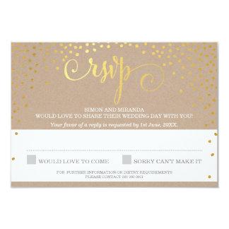 RSVP REPLY stylish rustic mini gold confetti kraft Card