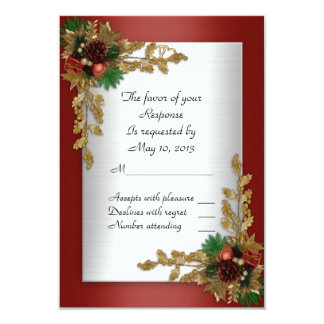 RSVP response card Holiday wedding invitation