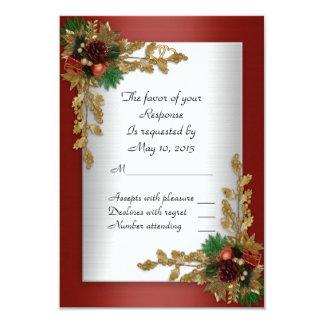 RSVP response card Holiday wedding invitation