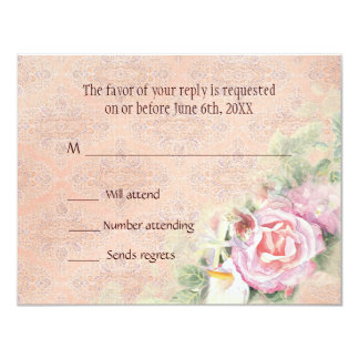 RSVP Response Card - Pastel Roses & Calla Lilies 11 Cm X 14 Cm Invitation Card