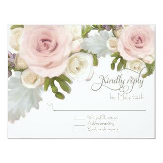 RSVP Response Floral Wedding Rose Succulent Leaf 11 Cm X 14 Cm Invitation Card