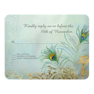 RSVP Response Peacock Feather Gold Elegant Wedding Card