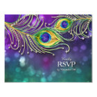 RSVP Response Peacock Feather Wedding Jewelled Card