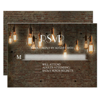 RSVP Response Urban Industrial Edison Lights Brick Card