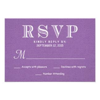 RSVP Rustic Burlap Orchid Wedding Reply Invitation