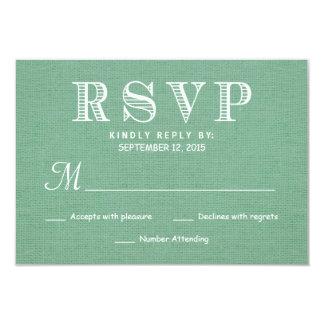 RSVP Rustic Burlap Wedding Reply - Celadon Green 9 Cm X 13 Cm Invitation Card