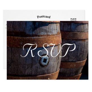 RSVP - Rustic Country Vineyard Wine Barrel Card