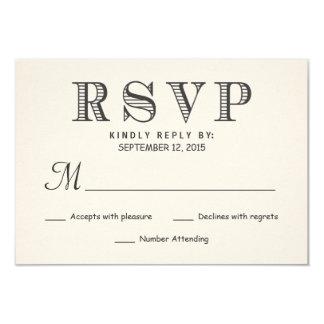 RSVP Rustic Typography Ivory White Wedding Reply 9 Cm X 13 Cm Invitation Card