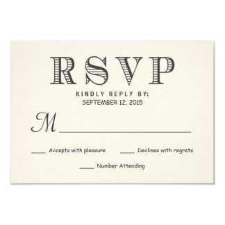 RSVP Rustic Typography Ivory White Wedding Reply Card