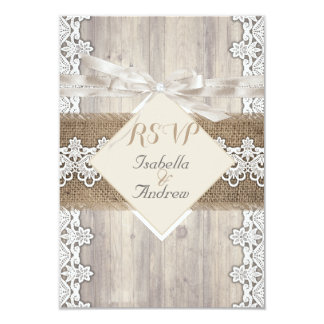 RSVP Rustic Wedding Beige White Lace Wood AB Card