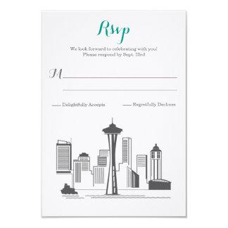 RSVP Seattle Skyline Wedding Card