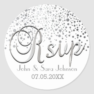 RSVP | Silver Confetti Dots | Personalize Classic Round Sticker