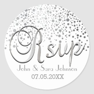RSVP | Silver Dots | Personalise Round Sticker