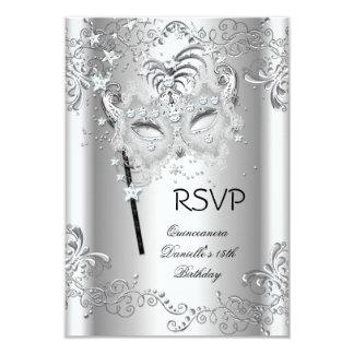 "RSVP Silver Quinceanera 15th Birthday Masquerade 3.5"" X 5"" Invitation Card"
