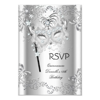 RSVP Silver Quinceanera 15th Birthday Masquerade 9 Cm X 13 Cm Invitation Card
