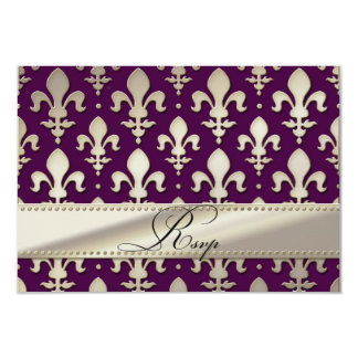 "RSVP Silver Wedding Anniversary, Fleur de Lis 3.5"" X 5"" Invitation Card"