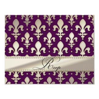 "RSVP Silver Wedding Anniversary, Fleur de Lis 4.25"" X 5.5"" Invitation Card"