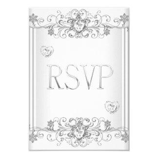 RSVP Silver White Diamond Hearts 2 9 Cm X 13 Cm Invitation Card