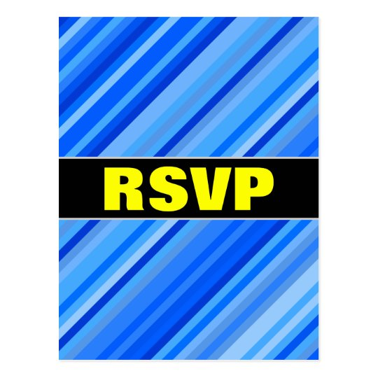 """RSVP"" + Stripes of Blue Pattern Postcard"