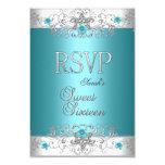 RSVP Sweet Sixteen 16 Party Teal Blue Diamond Invite