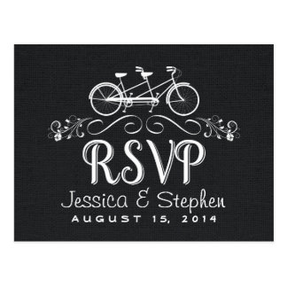RSVP Tandem Bicycle for Two Black Burlap Reply Postcard