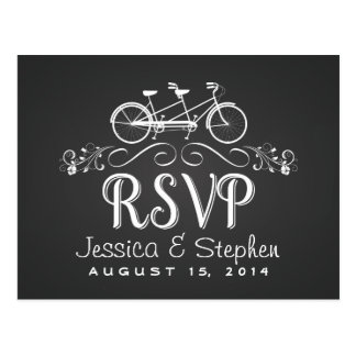 RSVP Tandem Bicycle for Two Chalkboard Reply Post Cards