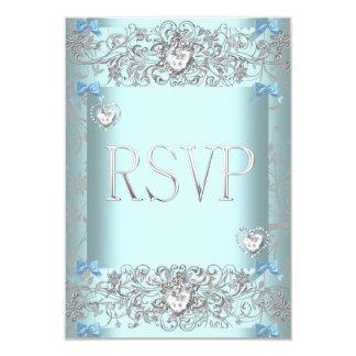 RSVP Teal Blue Damask Wedding White Diamond Hearts 9 Cm X 13 Cm Invitation Card