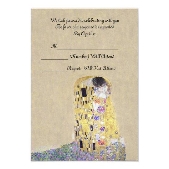 "RSVP ""The Kiss"" Golden Wedding Anniversary Klimt Card"