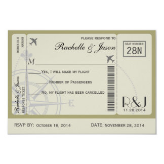 RSVP Ticket Airlines 3.5x5 Paper Invitation Card