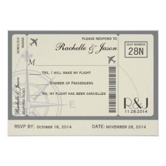 RSVP Ticket Airlines Personalized Invitation
