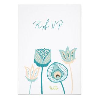 RSVP Turquoise Aqua Floral Blooms Wedding Card 9 Cm X 13 Cm Invitation Card