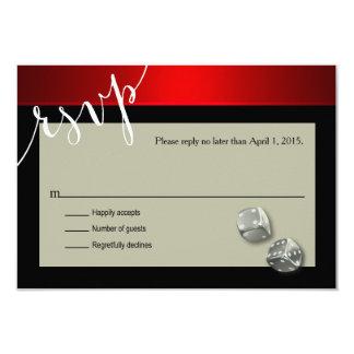 RSVP Vegas Casino Chip | red silver black 9 Cm X 13 Cm Invitation Card